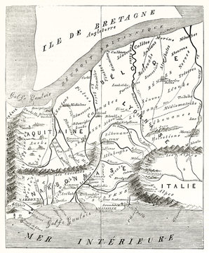 Ancient etching style gray scale map of France in Augustus era. By Mac Carthy after ancient Greek geographer Strabo publ. on Magasin Pittoresque Paris 1848
