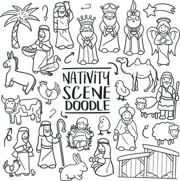 Nativity Scene Christmas  Traditional Doodle Icons Sketch Hand Made Design Vector