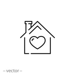 house with heart icon, home line symbol on white background - editable stroke vector illustration eps10