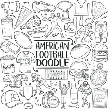 American Football Sport Traditional Doodle Icons Sketch Hand Made Design Vector