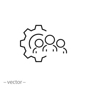 partnership team icon, business customer, facility leader line symbol on white background - editable stroke vector illustration