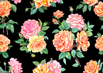 Tea and pink roses seamless pattern on black background, watercolor illustration.