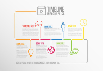 Multicolored Timeline Layout with Icons