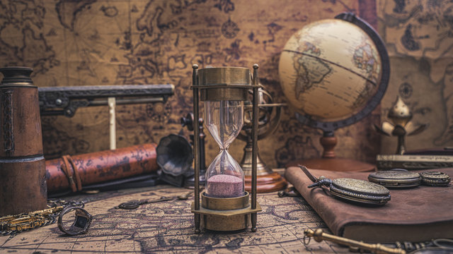 Vintage Brass Hourglass With Pirate Collection
