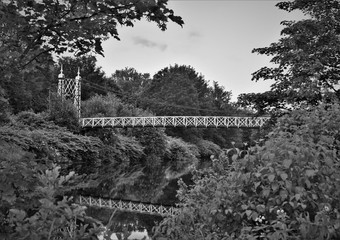 Howley suspension footbridge at victoria park. This bridge is around 100 years old and is hidden gem in warrington town. England