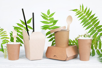 Eco-Friendly disposable tableware on the white table