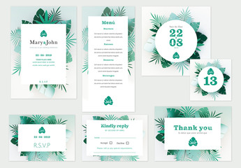Wedding Suite with Tropical Leaf Illustrations