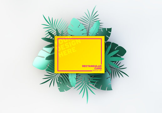 Rectangular Card with Tropical Leaf Illustrations Mockup