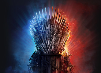 Medieval iron throne of kings made of weapons: swords, daggers, spears, knives blades. Misterious low key middle ages fantasy background design element in fire and ice.  Dark knights game concept. 3D