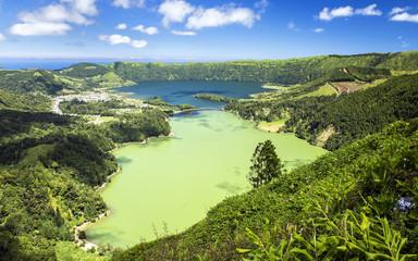 The famous Sete Cidades panorama from Vista do Rei, Sao Miguel, Azores.