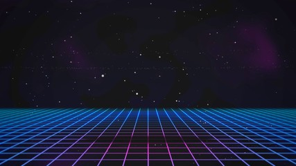 Retro lines and grid in space, abstract background