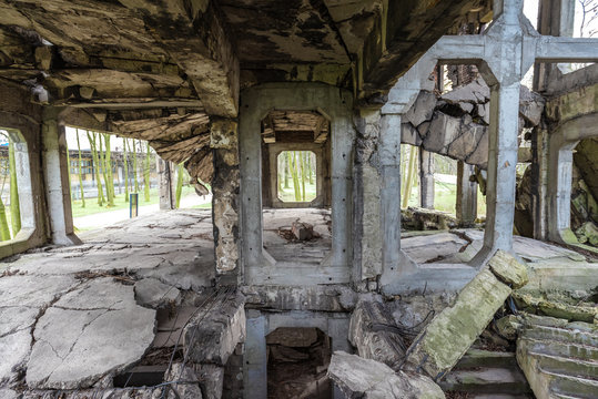 Old destroyed military barracks ruins from the World War II at Westerplatte in Gdansk, Poland.