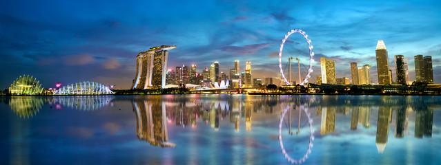 Singapore skyline and Marina Bay panorama at dusk Fototapete