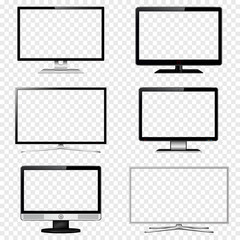 TV screen and computer monitor set with transparent display isolated on transparent background