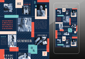 Social Post Grid Layout with Blue and Orange Accents
