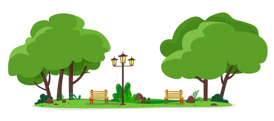 Cozy city park with benches and street lamps. Vector illustration of a flat style. - fototapety na wymiar