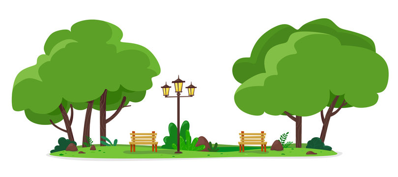 Cozy city park with benches and street lamps. Vector illustration of a flat style.