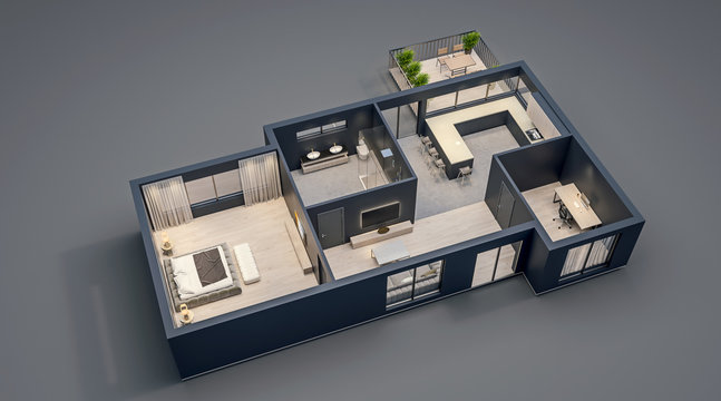 modern interior design, isolated floor plan with black walls, blueprint of apartment, house, furniture, isometric, perspective view, 3d rendering