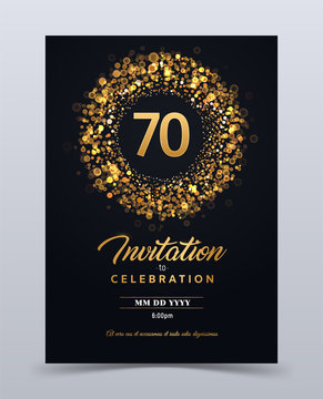 70 years anniversary invitation card template isolated vector illustration. Black greeting card template