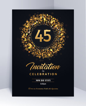 45 years anniversary invitation card template isolated vector illustration. Black greeting card template