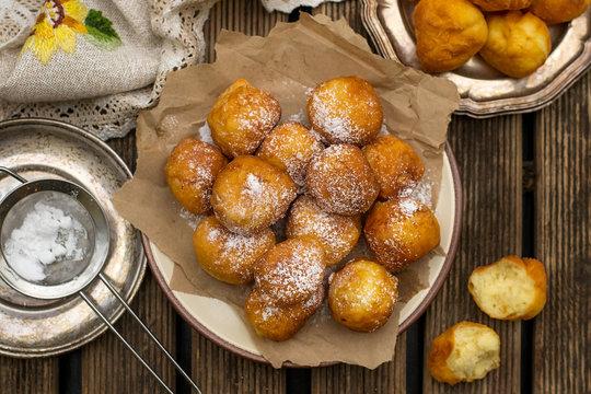 Homemade deep fried sweet ricotta fritters
