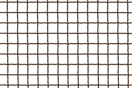 Metal grille. Wire fence isolated on white background. Steel, iron, metal mesh on a white background, a square cell