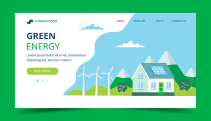 Green energy landing page with a house with solar panels, wind turbines. Concept illustration for ecology, green power, wind energy, sustainability Wall mural