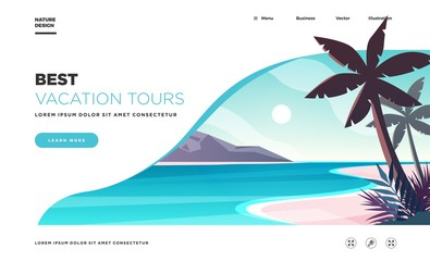 Landing page template. Modern landscape background with palms on the beach. Best vacation tours commercial