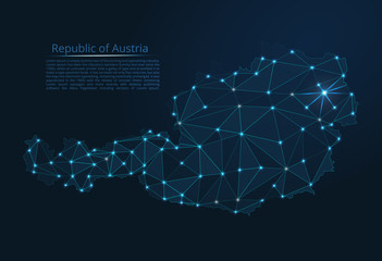The map of the network of the Austria. Vector low-poly image of a global map with lights in the form of a population density of cities consisting of shapes in the form of stars