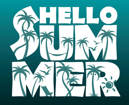 emblem of hello summer lettering with palm trees isolated