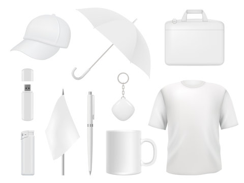 Corporate identity. Business souvenir items clothes packaging stickers pen badge lighter vector empty mockup template. Illustration of t-shirt and umbrella, flag and lighter, cap and cup