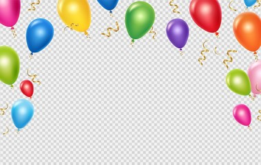 Celebration vector background template. Realistic balloons and ribbons banner design. Illustration of birthday balloon realistic, festive celebrate poster