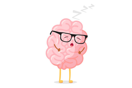 Cute cartoon smart human brain with glasses relaxation. Central nervous system sleeping organ funny vector illustration