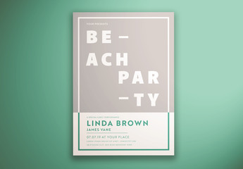 Beach Party Flyer Layout with Photo Mask