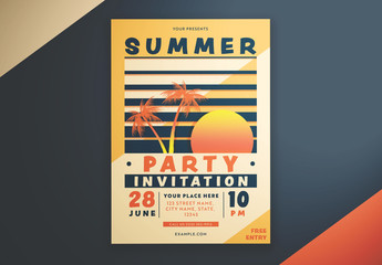 Summer Invitation Flyer Layout with Gradient Sunset Graphic