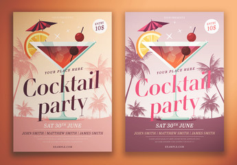 Cocktail Party Flyer Layout with Palm Trees
