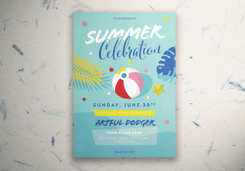 Summer Celebration Poster Layout with Illustrative Elements