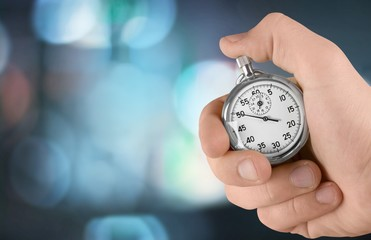 Close-up Stopwatch in Human Hand, Timer