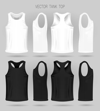 Men's white and black tank top template in three dimensions: front, side and back view. Blank of realistic male sport shirts