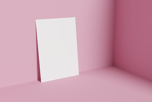Blank A4 paper template on pink of background.