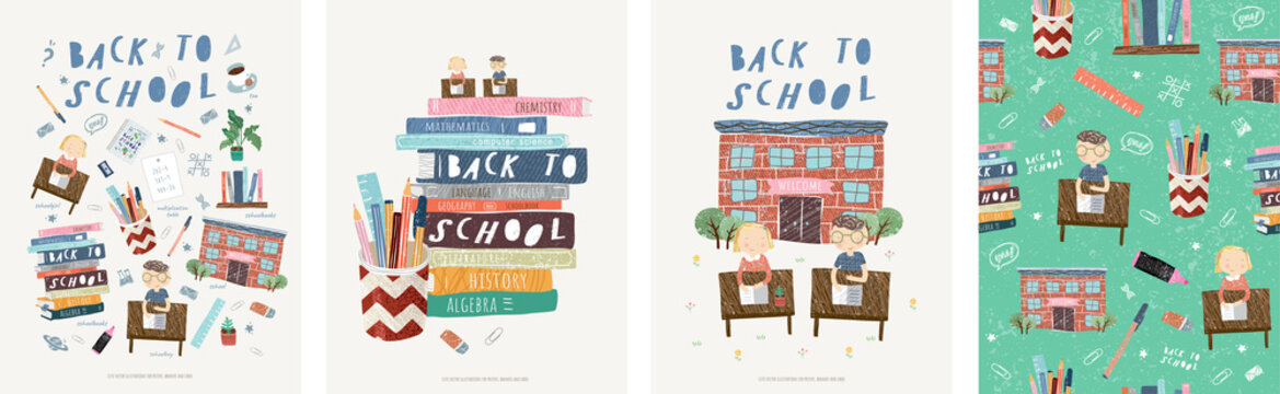 Back to school! Cute vector illustrations for a poster, banner or card with objects: school, schoolchildren at their desks, stationery, books, children, pen, ruler, marker, eraser and seamless pattern