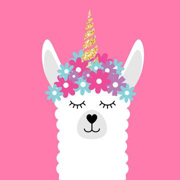 Vector flat cartoon face of llamacorn llama unicorn with flowers isolated on pink background