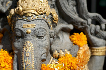 Close up picture of a Ganesha stone statue