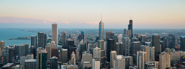 Chicago skyline. An overhead view of the great city of Chicago