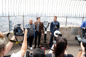 Actors (L-R) Jacob Batalon, Tom Holland, and Zendaya pose for a photograph on top of the Empire State Building to promote the film, Spider-Man: Far From Home in New York