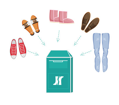 Vector Illustration of Shoes Bin or Clothes Donation Container with Items of Footwear. Flat Design of Recycling Container. Social Care and  Charity Concept