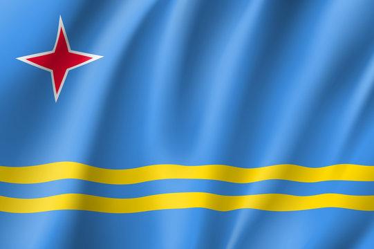 National flag of Aruba island in Caribbean sea