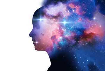 silhouette of virtual human with aura chakras on space nebula 3d illustration Wall mural