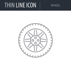 Symbol of Wheel. Thin line Icon of Car elements. Stroke Pictogram Graphic for Web Design. Quality Outline Vector Symbol Concept. Premium Mono Linear Beautiful Plain Laconic Logo