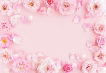 Flowers composition pastel colors. background from  beautiful pale pink roses frame, border on pink  background.Top view.Copy space